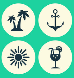Summer icons set collection of armature lemonade vector