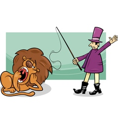 Tamer and bored lion cartoon vector
