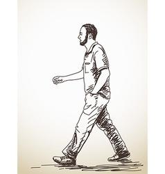 Walking young man vector