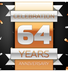 Sixty four years anniversary celebration golden vector