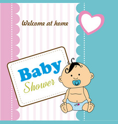 Baby shower design over colorful background vector