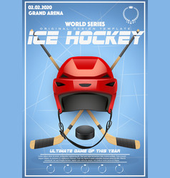 Poster template of ice hockey tournament vector