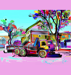 digital painting of rural landscape with car vector image