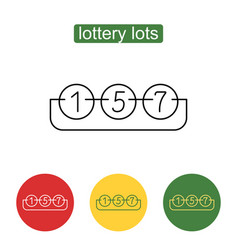 Lottery number balls line icon vector