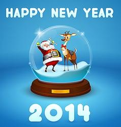 Santa Claus and Christmas deer inside ball vector image