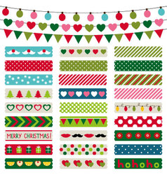 Christmas decoration and washi tapes set vector