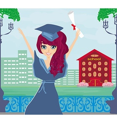 A kid holding her diploma vector