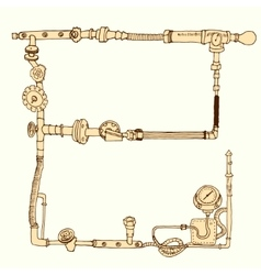 Hand-drawn frame decorative style steam punk vector