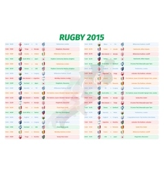 Rugby World Cup Games Schedule vector image