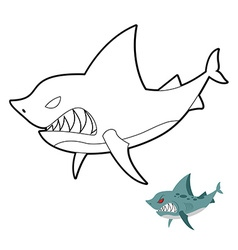 Shark coloring book angryl underwater animal vector