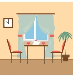 Living and dining rooms with furniture flat style vector