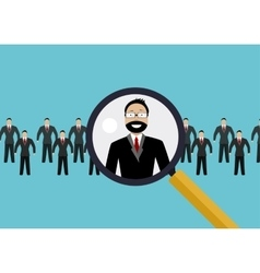 Finding professional staff with magnifying glass vector
