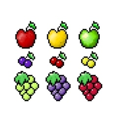 Pixel fruits set vector