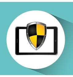 Security technology padlock system cellphone vector