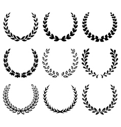 Black laurel wreaths 1 vector image vector image