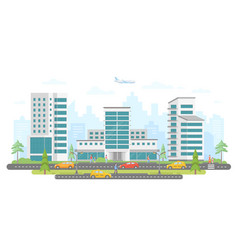 Busy street - modern colorful flat vector