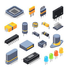 capacitor different chips semiconductor and vector image