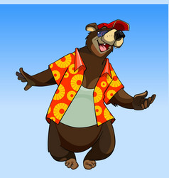 Cartoon character happy bear in summer clothes vector