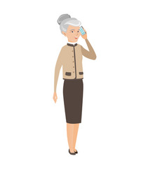 Caucasian business woman talking on a mobile phone vector