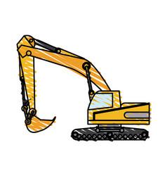 Color crayon stripe construction heavy machine vector
