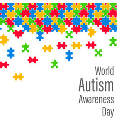 Colorful jigsaw drop world autism awareness day vector