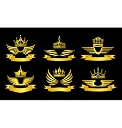 Crowns and ribbons emblems vector image vector image