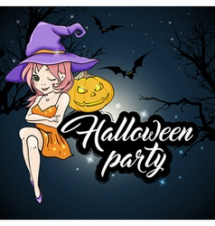 Cute young witch and pumpkin vector