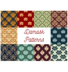 Damask ornamental decoration patterns vector image