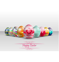 Easter colorful eggs background with red ribbon vector