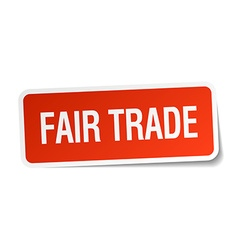 Fair trade red square sticker isolated on white vector