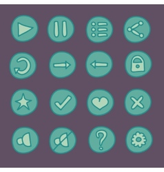 Flat game ui buttons set in doodle style vector