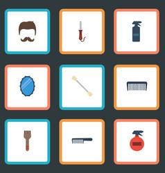 Flat icons cotton buds looking-glass hairbrush vector