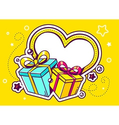 gift boxes with heart on yellow backgroun vector image
