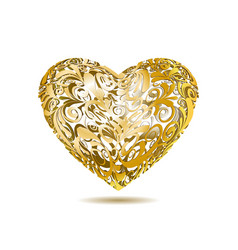 Gold Openwork Floral Heart vector image vector image