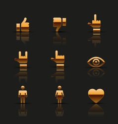 Golden social icons set vector image vector image