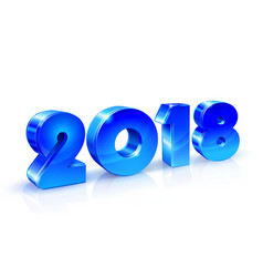 happy new year 2018 blue shiny numbers with vector image vector image