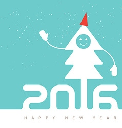 Happy New Year Design with smiling Christmas tree vector image