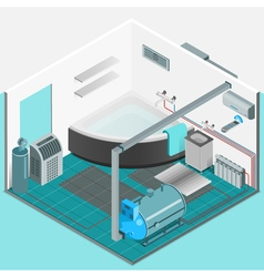 Heating cooling system interior isometric concept vector