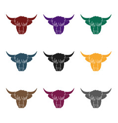 Highland cattle head icon in black style isolated vector
