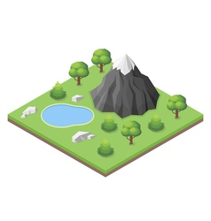 Isometric mountain lake in the woods vector