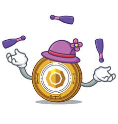 Juggling komodo coin mascot cartoon vector