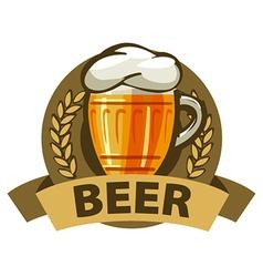 Logo beer in a mug and a ribbon vector