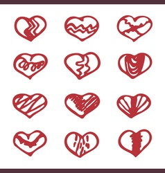 Love set unique hand drawn icons romantic vector