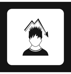Man with falling graph icon simple style vector