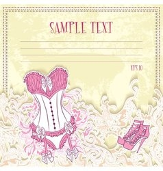 Message card with corset underwear vector