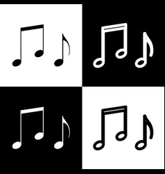 Music notes sign black and white icons vector