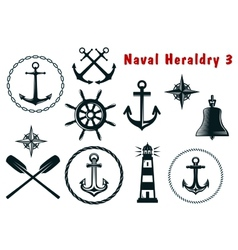 Naval heraldry icons set vector