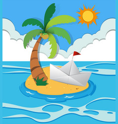 Paper boat on island vector