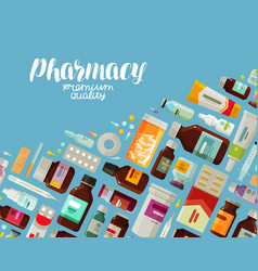 pharmacy pharmacology banner medicine bottles vector image