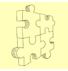 Puzzles pieces sketch vector